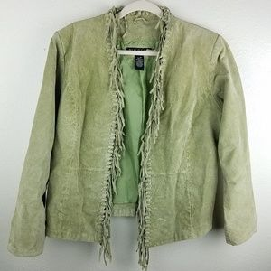 DIALOGUE Open Front Green Leather Fringe Jacket